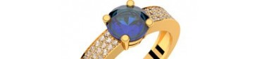 Bague or jaune saphir bleu et pavage diamants DANAE