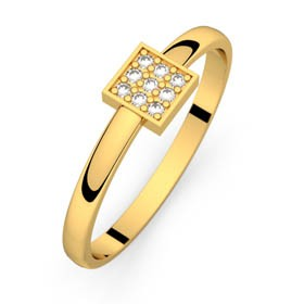 Bague diamant or jaune CARRE MAGIQUE 0,05 ct