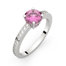 Bague saphir rose 0,98 ct or blanc DAPHNE PAVAGE