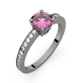 Bague saphir rose 0,98 ct or noir DAPHNE PAVAGE