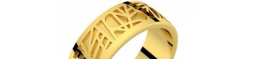 Bague homme or jaune ABSTRACTION 75