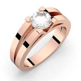 Engagement ring pink gold ANNE 0,70 ct GVS2 GIA