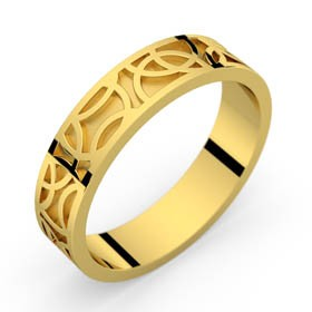 Yellow gold ring Crop Circle 50