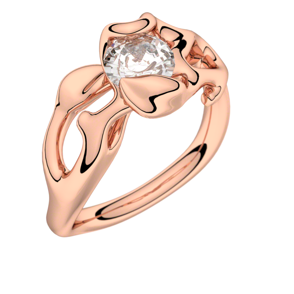 Bague solitaire diamant or rose 0,50 ct HSI Obsession