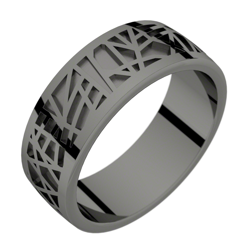 Bague homme or noir ABSTRACTION 75