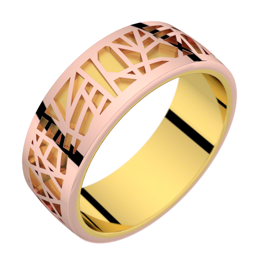 Bague or jaune et or rose ABSTRACTION 75