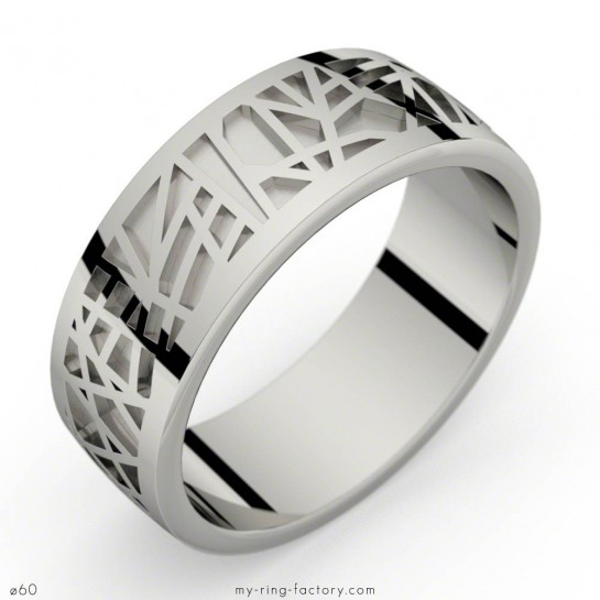 Bague homme or gris ABSTRACTION 75