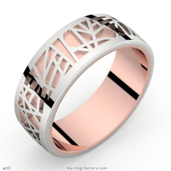 Bague homme or rose et or blanc ABSTRACTION 75